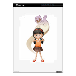 A scared child with a ghost at her back iPad 2 decal