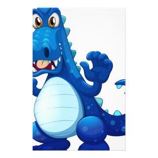 A scary blue crocodile stationery