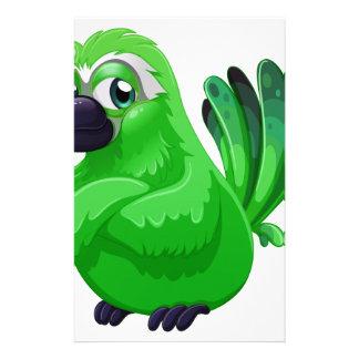 A scary green bird stationery
