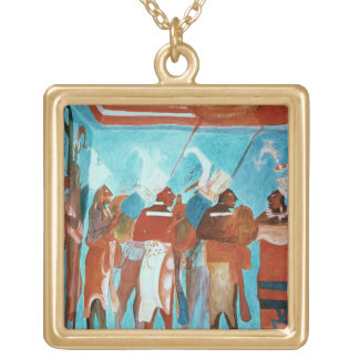 A Scene from Life, depicting musicians playing dru Square Pendant Necklace