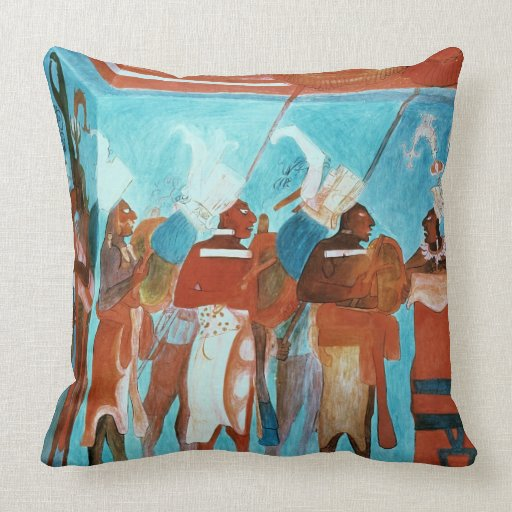 A Scene from Life, depicting musicians playing dru Throw Pillow