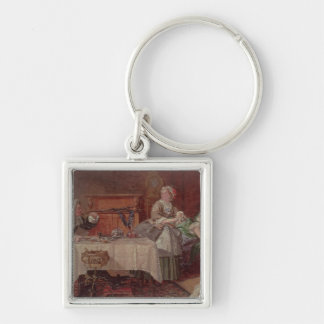A Scene from 'Tartuffe' by Moliere, 1850 Silver-Colored Square Keychain