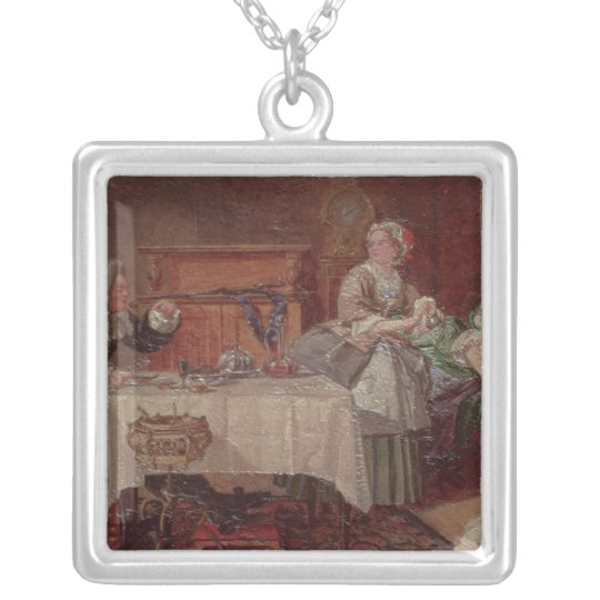 A Scene from 'Tartuffe' by Moliere, 1850 Silver Plated Necklace