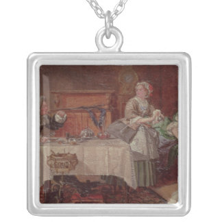 A Scene from 'Tartuffe' by Moliere, 1850 Square Pendant Necklace