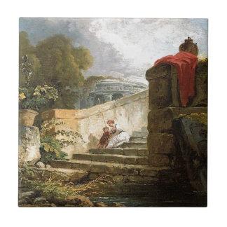 A Scene in the Grounds of the Villa Farnese, Rome Ceramic Tile