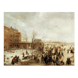 A Scene on the Ice near a Town, c.1615 Postcard