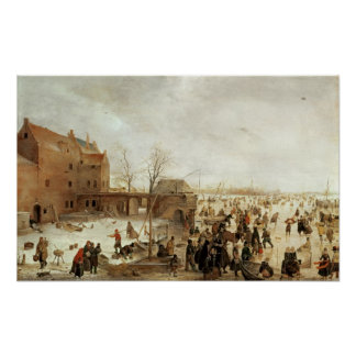 A Scene on the Ice near a Town, c.1615 Poster