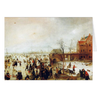 A Scene on the Ice near a Town Greeting Card
