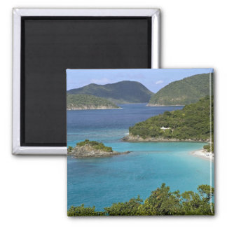 A scenic of Caneel Bay from a road at St. John 2 Inch Square Magnet