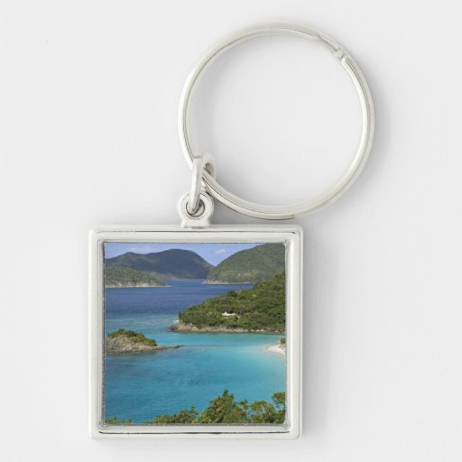 A scenic of Caneel Bay from a road at St. John Keychain