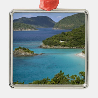 A scenic of Caneel Bay from a road at St. John Square Metal Christmas Ornament