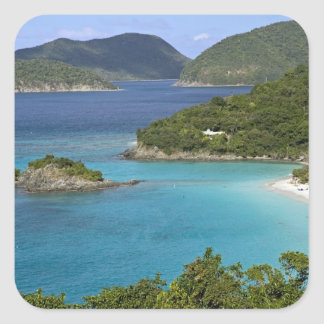 A scenic of Caneel Bay from a road at St. John Square Sticker