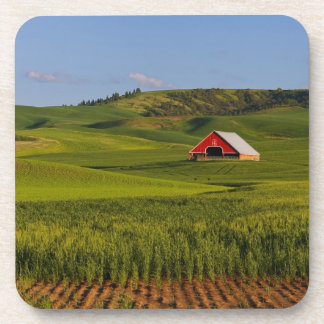 A scenic view of a barn in Moscow Idaho. Beverage Coaster