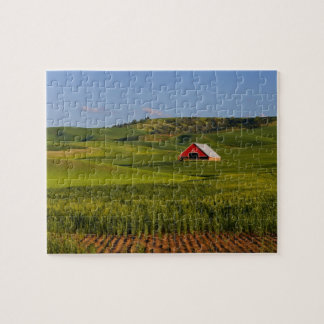 A scenic view of a barn in Moscow Idaho. Jigsaw Puzzle