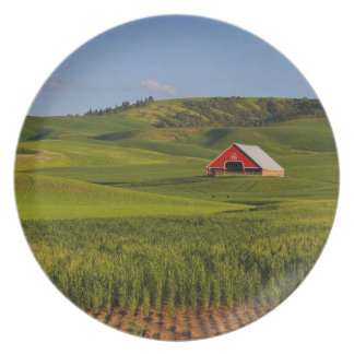A scenic view of a barn in Moscow Idaho. Melamine Plate