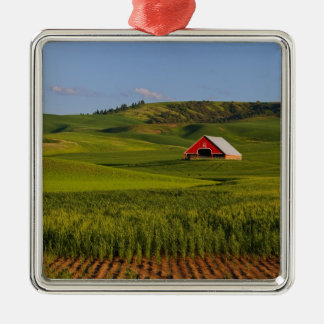 A scenic view of a barn in Moscow Idaho. Metal Ornament