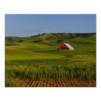 A scenic view of a barn in Moscow Idaho. Poster