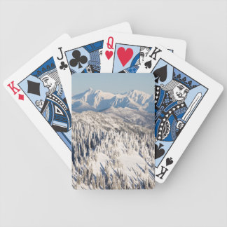 A Scenic View of Snowy Mountains and Trees. Bicycle Playing Cards