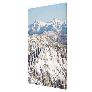A Scenic View of Snowy Mountains and Trees. Canvas Print