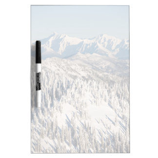A Scenic View of Snowy Mountains and Trees. Dry Erase Board