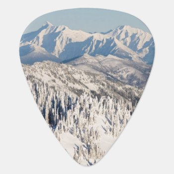 A Scenic View Of Snowy Mountains And Trees. Guitar Pick by usmountains at Zazzle