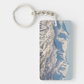 A Scenic View of Snowy Mountains and Trees. Acrylic Key Chains