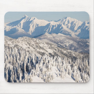 A Scenic View of Snowy Mountains and Trees. Mouse Pad