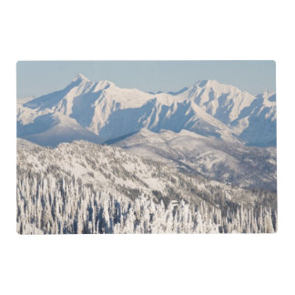 A Scenic View of Snowy Mountains and Trees. Placemat