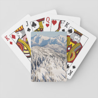 A Scenic View of Snowy Mountains and Trees. Playing Cards