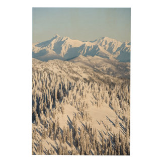 A Scenic View of Snowy Mountains and Trees. Wood Wall Art