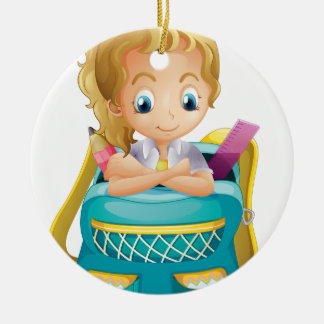 A school girl inside a schoolbag Double-Sided ceramic round christmas ornament