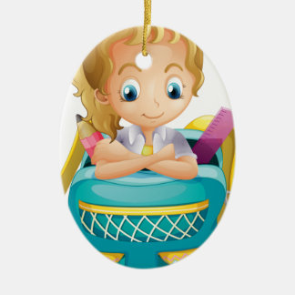 A school girl inside a schoolbag Double-Sided oval ceramic christmas ornament