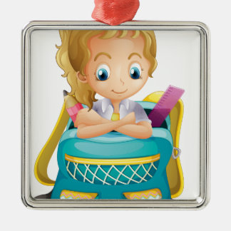 A school girl inside a schoolbag square metal christmas ornament