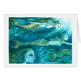 A School of Mermaids swim by Card