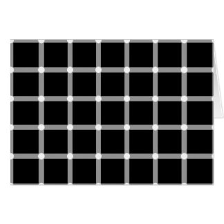 A scintillating black and white grid optical illus card