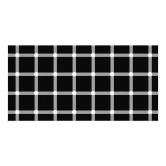 A scintillating black and white grid optical illus customized photo card
