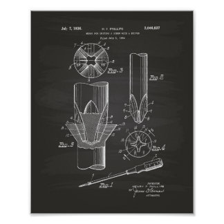 A Screw With A Driver 1934 Patent Art Chalkboard Poster