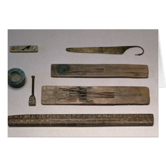 A scribe's instruments (wood, ivory, bronze and en card