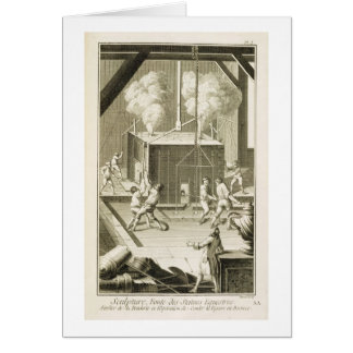 A sculptor's foundry, from the 'Encyclopedie des S Card
