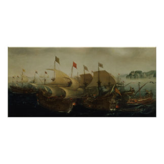 A Sea Action, possibly the Battle of Cadiz, 1596 Poster