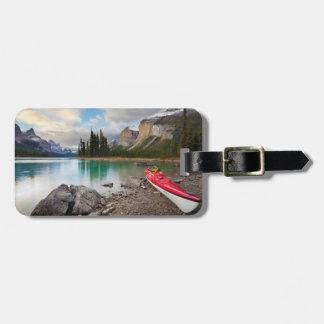 A sea kayak ashore at Spirit Island Bag Tag