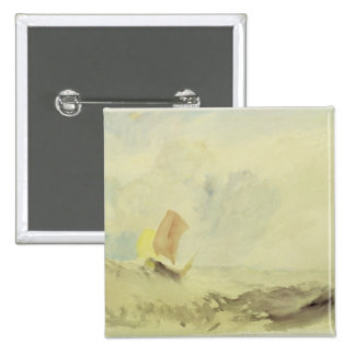 A Sea Piece - A Rough Sea with a Fishing Boat, 182 2 Inch Square Button