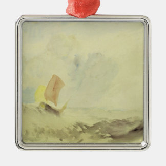 A Sea Piece - A Rough Sea with a Fishing Boat, 182 Metal Ornament