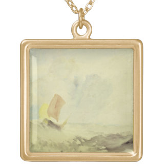 A Sea Piece - A Rough Sea with a Fishing Boat, 182 Square Pendant Necklace