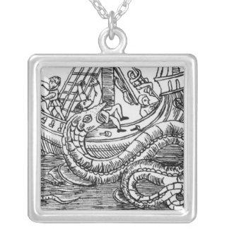 A Sea Serpent Square Pendant Necklace