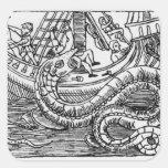 A Sea Serpent Square Stickers