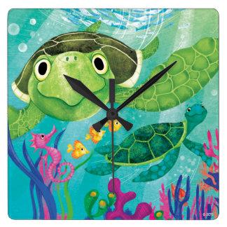 A Sea Turtle Rescue Square Wall Clock