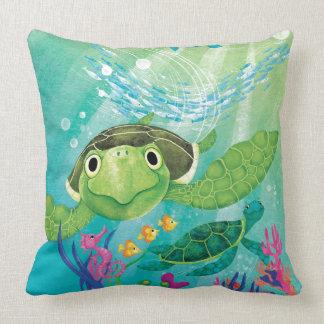 A Sea Turtle Rescue Throw Pillow