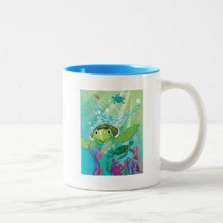 A Sea Turtle Rescue Two-Tone Coffee Mug