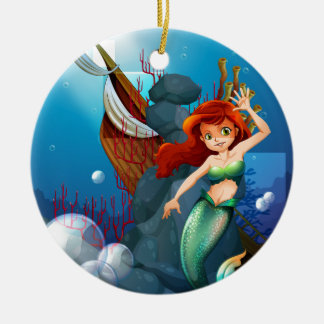 A sea with a mermaid near the wrecked boat Double-Sided ceramic round christmas ornament